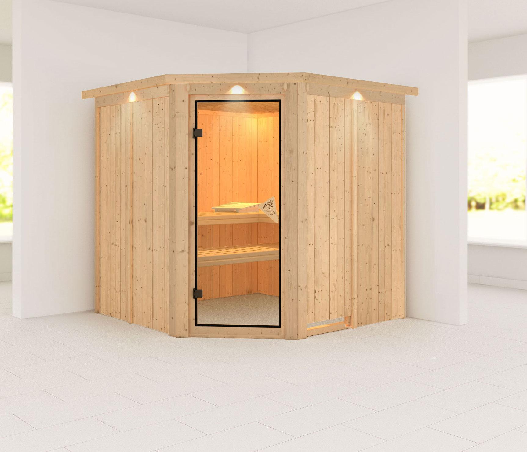 Karibu Sauna Jarin 68mm Dachkranz ohne Ofen classic Tür Bild 1
