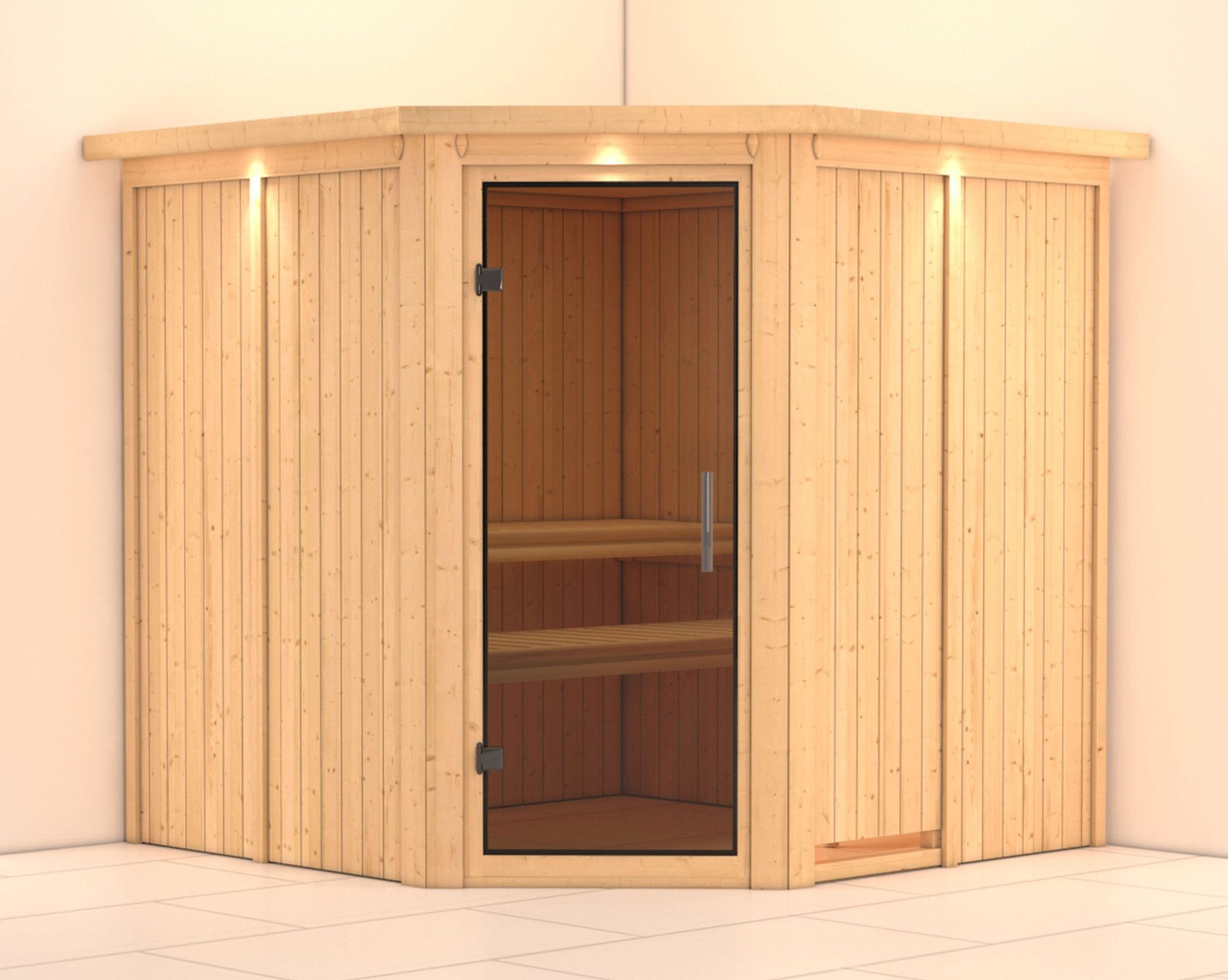 Karibu Sauna Jarin 68mm Dachkranz ohne Ofen moderne Tür Bild 1