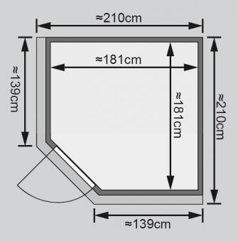 Karibu Sauna Jarin 68mm Dachkranz ohne Ofen moderne Tür Bild 2
