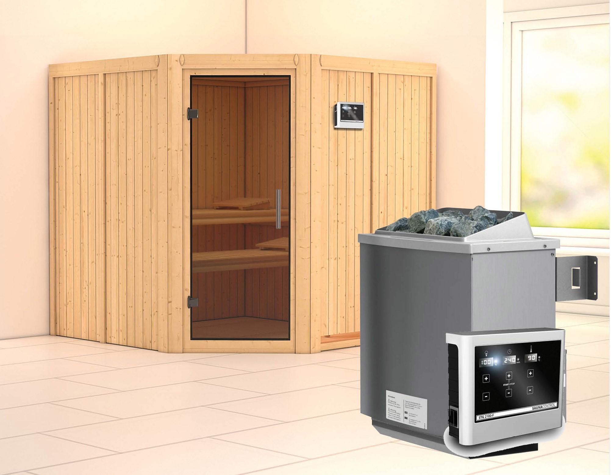 Karibu Sauna Jarin 68mm Ofen 9kW extern moderne Tür Bild 1
