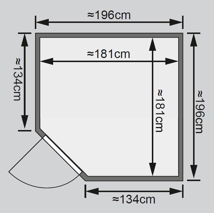 Karibu Sauna Jarin 68mm Ofen 9kW extern moderne Tür Bild 2