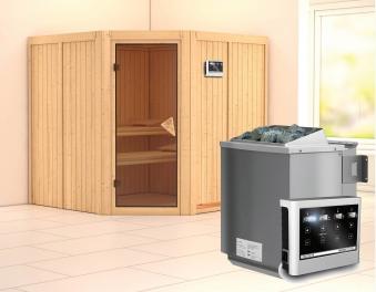 Karibu Sauna Jarin 68mm mit Bio Ofen 9kW extern classic Tür Bild 1