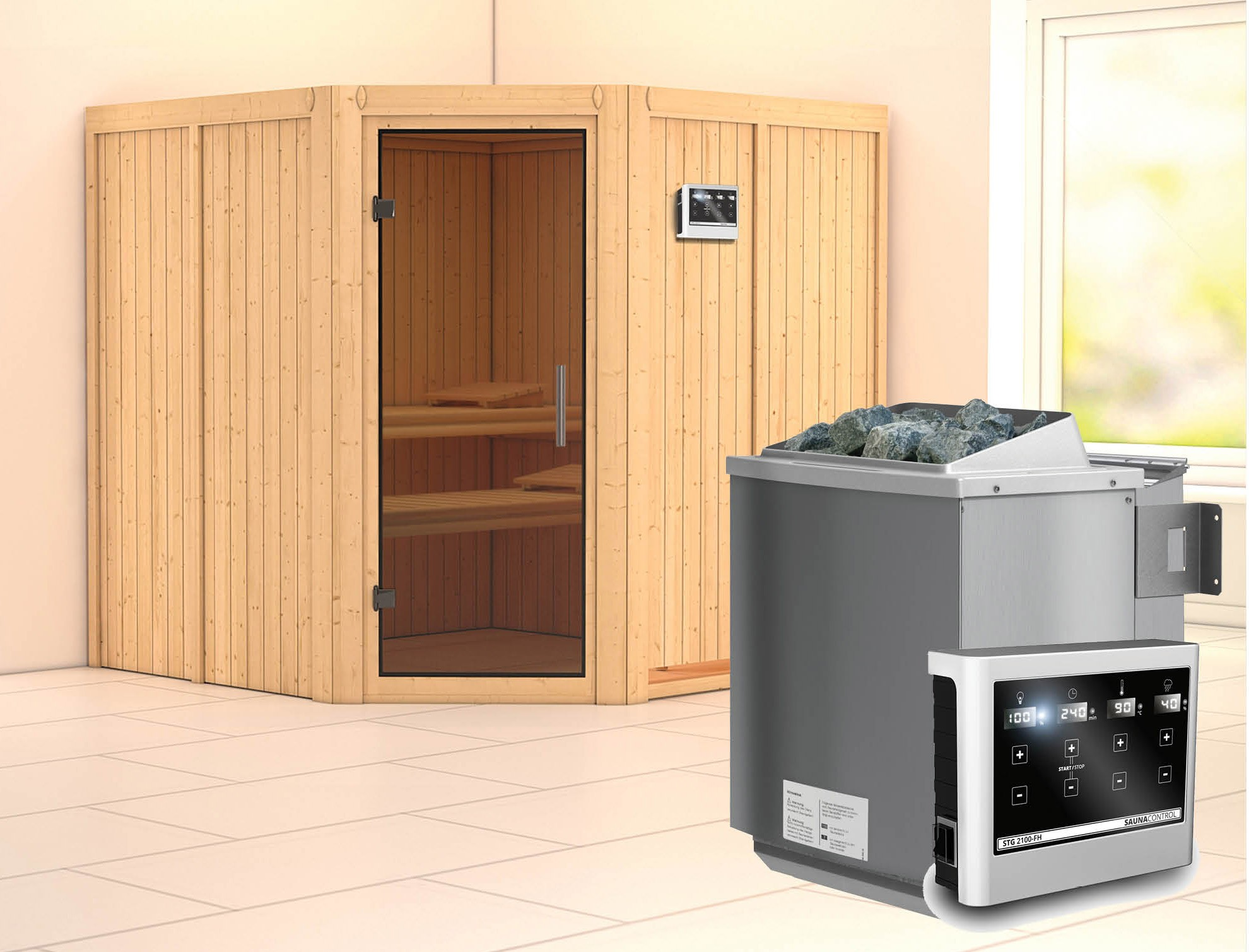 Karibu Sauna Jarin 68mm mit Bio Ofen 9kW extern moderne Tür Bild 1