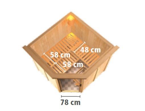 Karibu Sauna Jarin 68mm mit Ofen 9kW intern classic Tür Bild 4