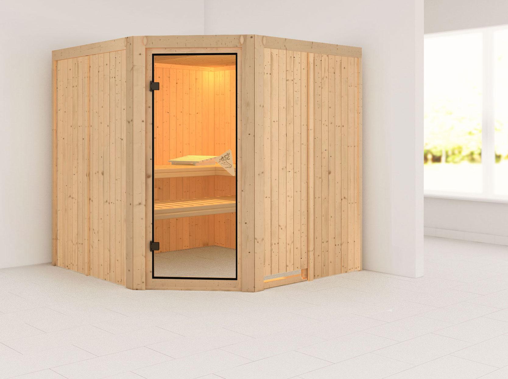 Karibu Sauna Jarin 68mm ohne Ofen classic Tür Bild 1