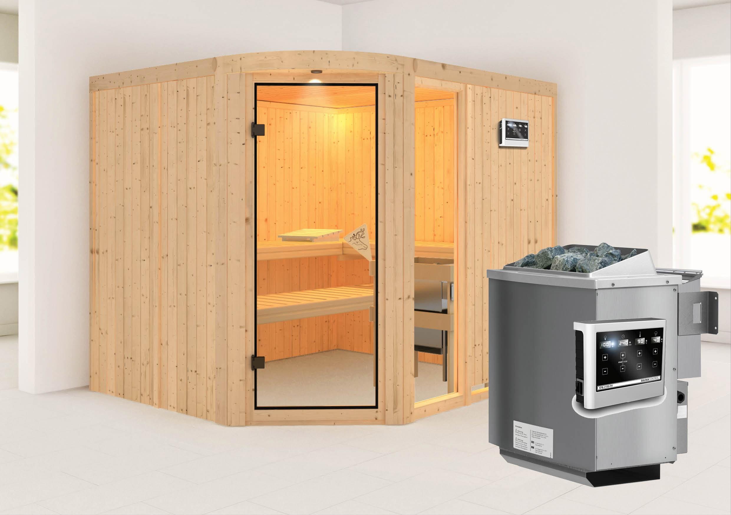 Karibu Sauna Lakura 68mm mit Bio Ofen 9kW extern classic Tür Bild 1