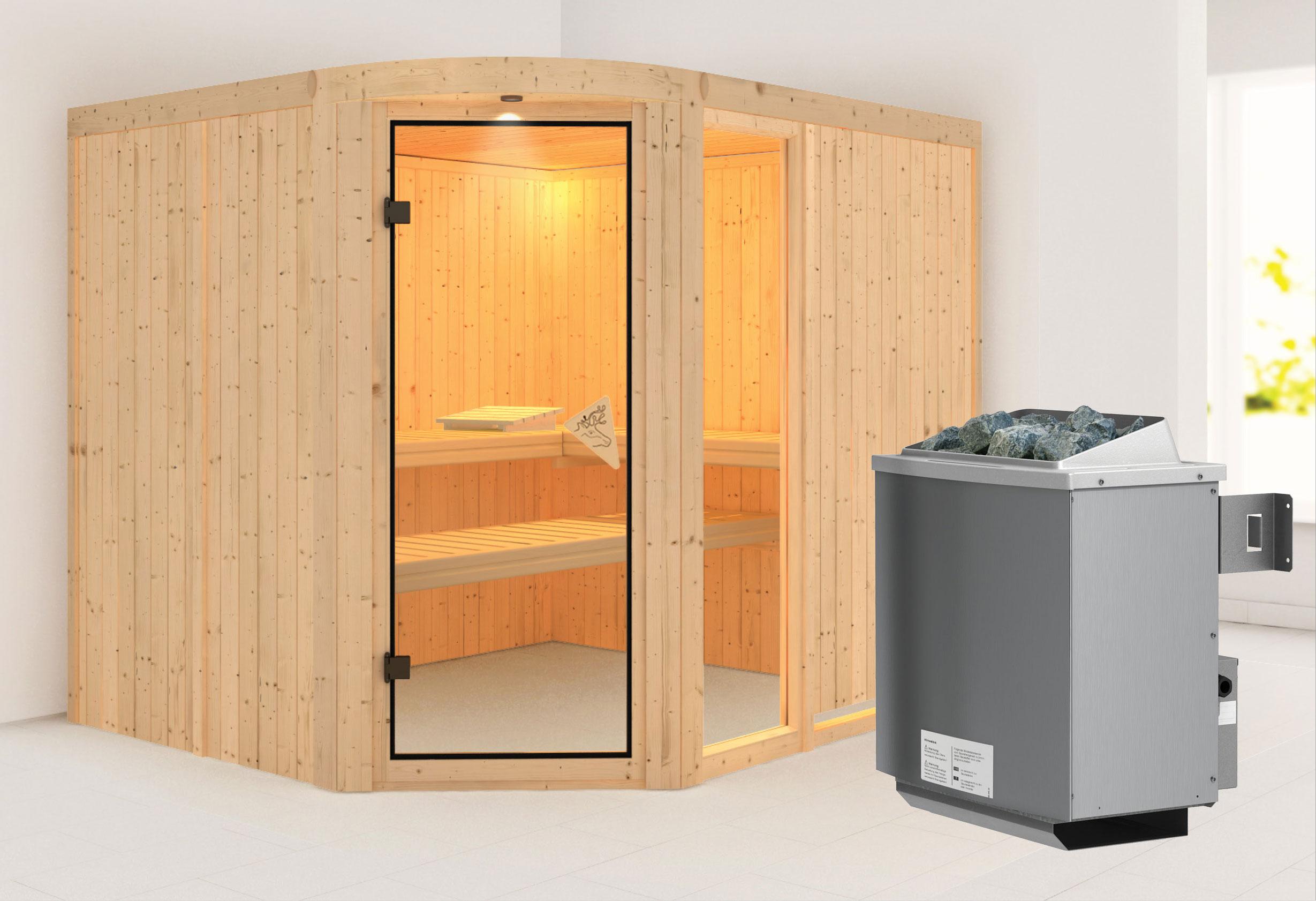 Karibu Sauna Lakura 68mm mit Ofen 9kW intern classic Tür Bild 1