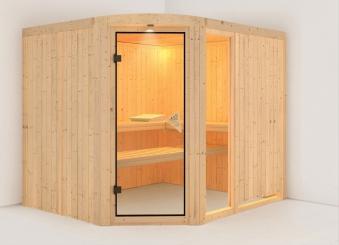 Karibu Sauna Lakura 68mm ohne Ofen classic Tür Bild 1