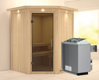 Karibu Sauna Larin 68mm Dachkranz mit Saunaofen 9kW intern moderne Tür Bild 1