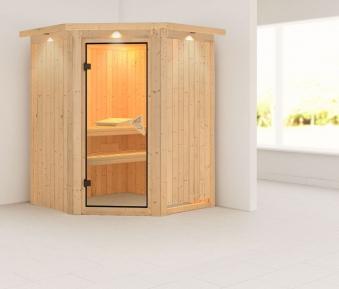 Karibu Sauna Larin 68mm Dachkranz ohne Saunaofen classic Tür Bild 1