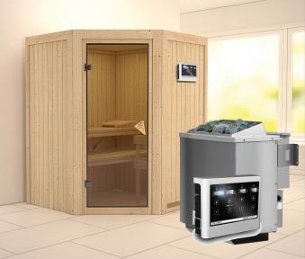 Karibu Sauna Larin 68mm mit Bio Saunaofen 9kW extern classic Tür Bild 1