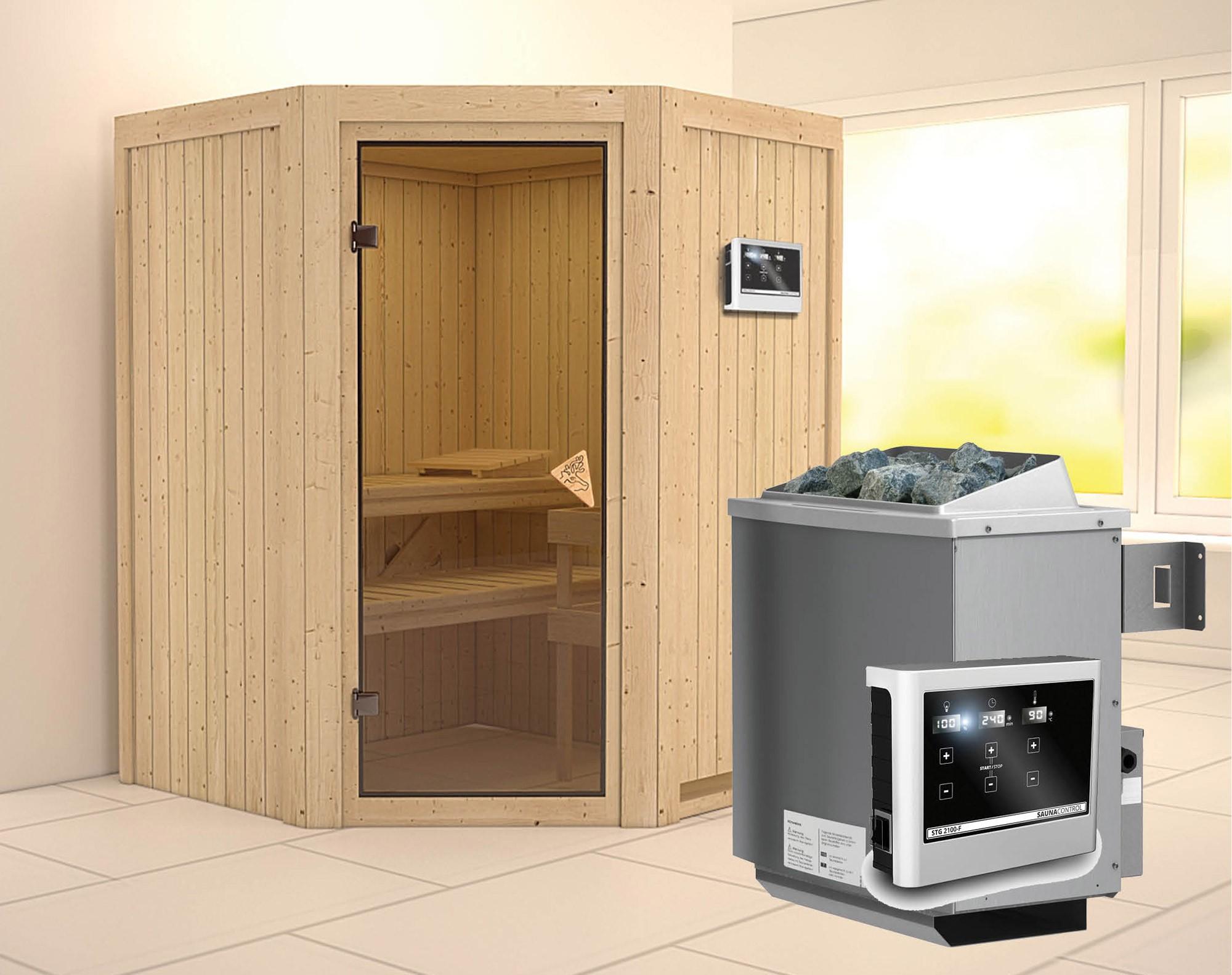 Karibu Sauna Larin 68mm mit Saunaofen 9kW extern classic Tür Bild 1