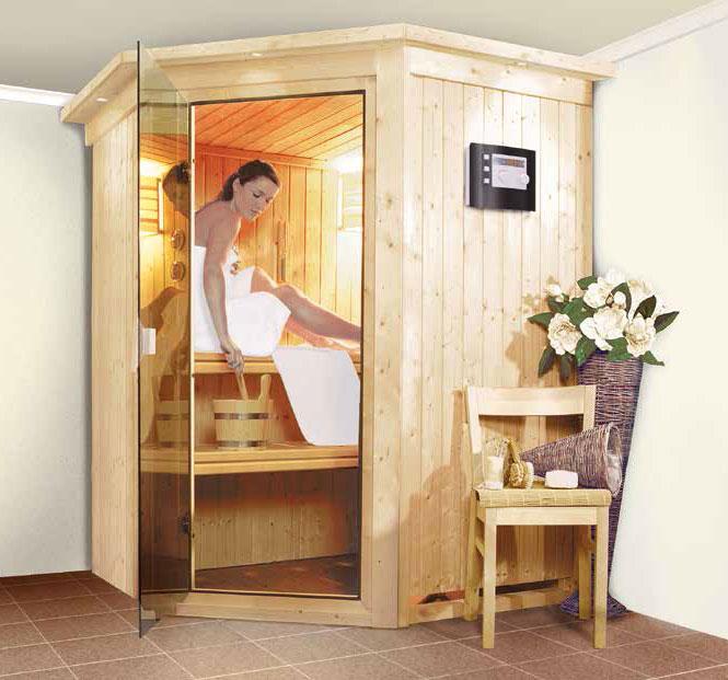 Karibu Sauna Larin 68mm mit Saunaofen 9kW intern classic Tür Bild 4