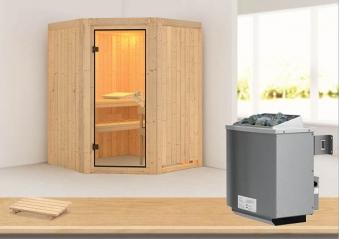 Karibu Sauna Larin 68mm mit Saunaofen 9kW intern classic Tür Bild 1
