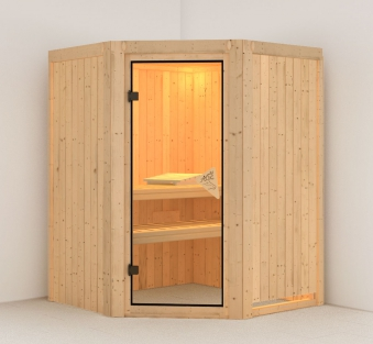 Karibu Sauna Larin 68mm ohne Saunaofen classic Tür Bild 1