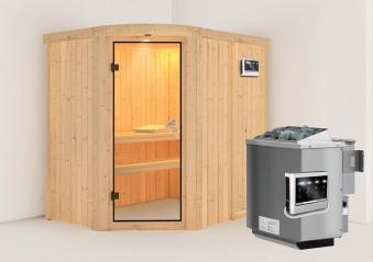 Karibu Sauna Lavea 68mm mit Bio Ofen 9kW extern classic Tür Bild 1