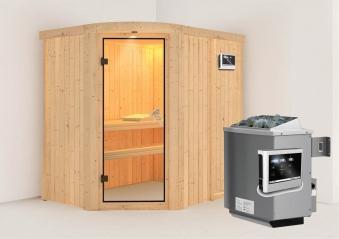 Karibu Sauna Lavea 68mm mit Ofen 9kW extern classic Tür Bild 1