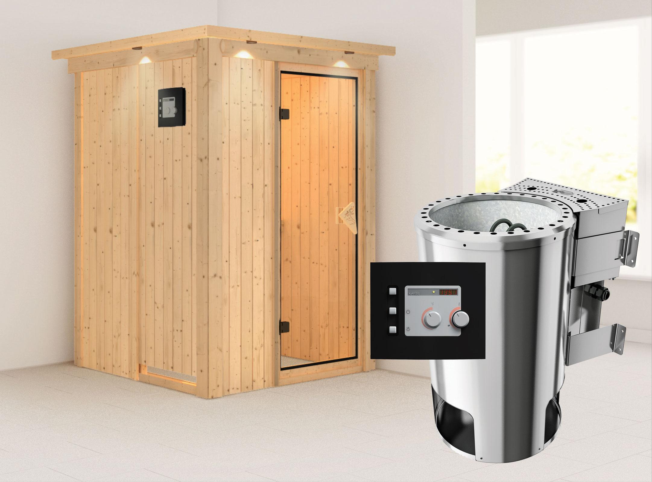 Karibu Sauna Lenja 68mm 230V Dachkranz + BioOfen 3,6kW ext classic Tür Bild 1
