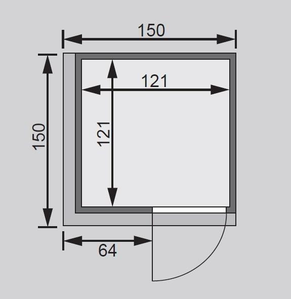 Karibu Sauna Lenja 68mm 230V Dachkranz + BioOfen 3,6kW ext classic Tür Bild 2