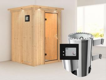 Karibu Sauna Lenja 68mm 230V Dachkranz + Ofen 3,6kW extern classic Tür Bild 1