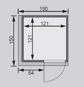 Karibu Sauna Lenja 68mm 230V Dachkranz + Ofen 3,6kW extern classic Tür Bild 2