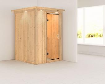 Karibu Sauna Lenja 68mm 230V Dachkranz ohne Ofen classic Tür Bild 1