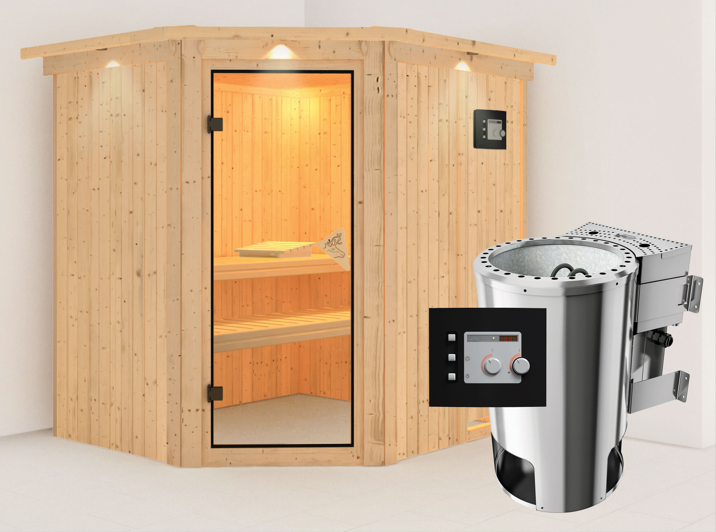 Karibu Sauna Lilja 68mm 230V Dachkranz + BioOfen 3,6kW ext classic Tür Bild 1