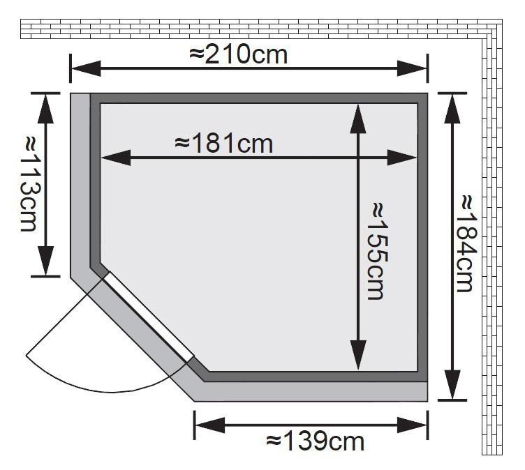 Karibu Sauna Lilja 68mm 230V Dachkranz + BioOfen 3,6kW ext classic Tür Bild 2