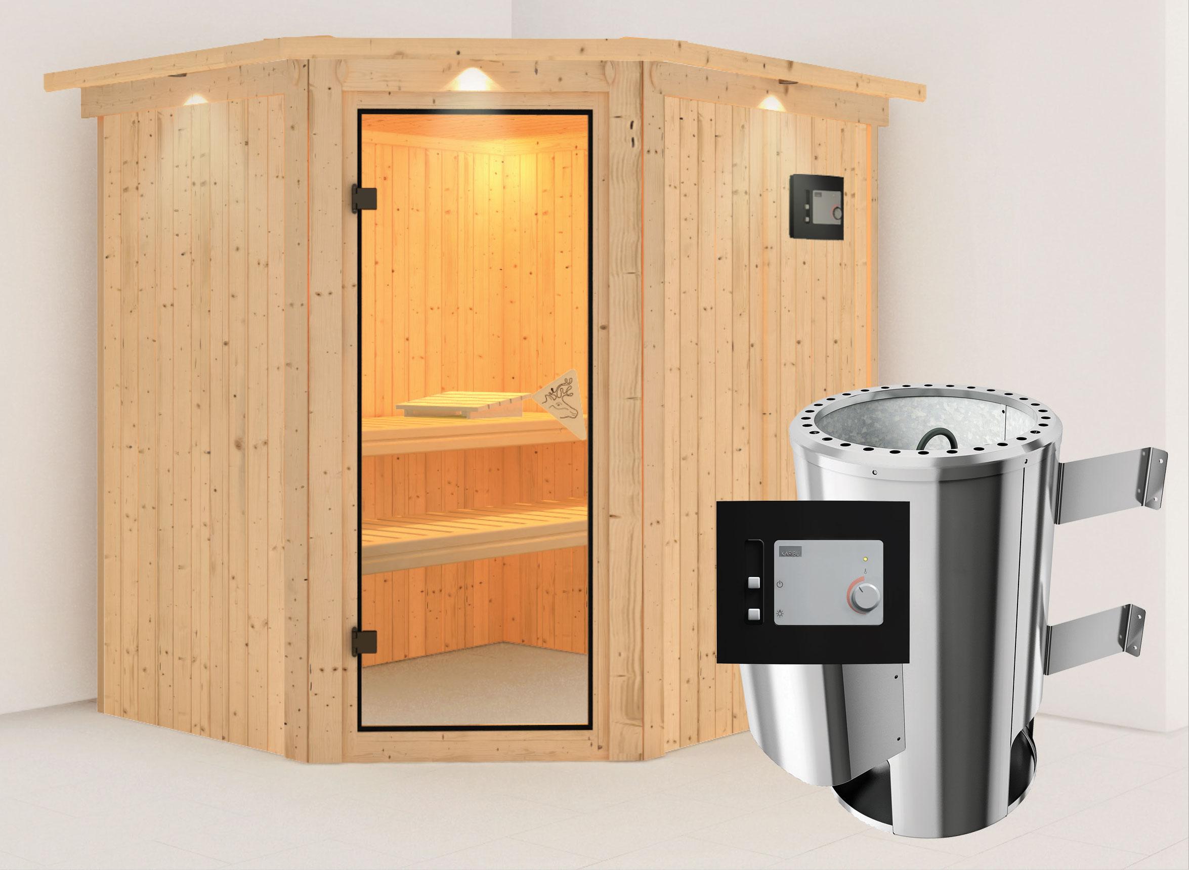 Karibu Sauna Lilja 68mm 230V Dachkranz + Ofen 3,6kW extern classic Tür Bild 1