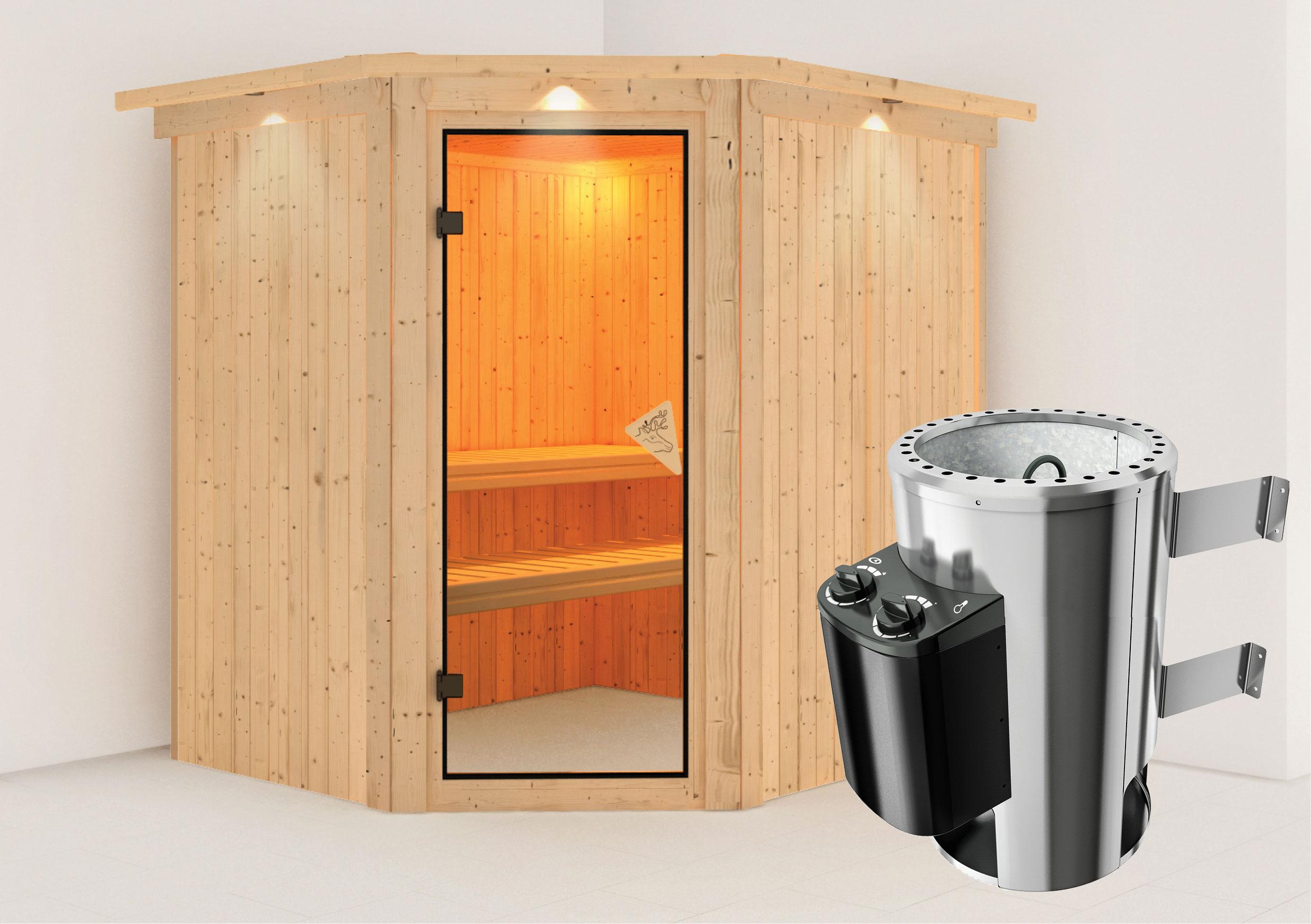 Karibu Sauna Lilja 68mm 230V Dachkranz + Ofen 3,6kW intern classic Tür Bild 1