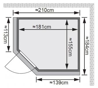 Karibu Sauna Lilja 68mm 230V Dachkranz + Ofen 3,6kW intern classic Tür Bild 2