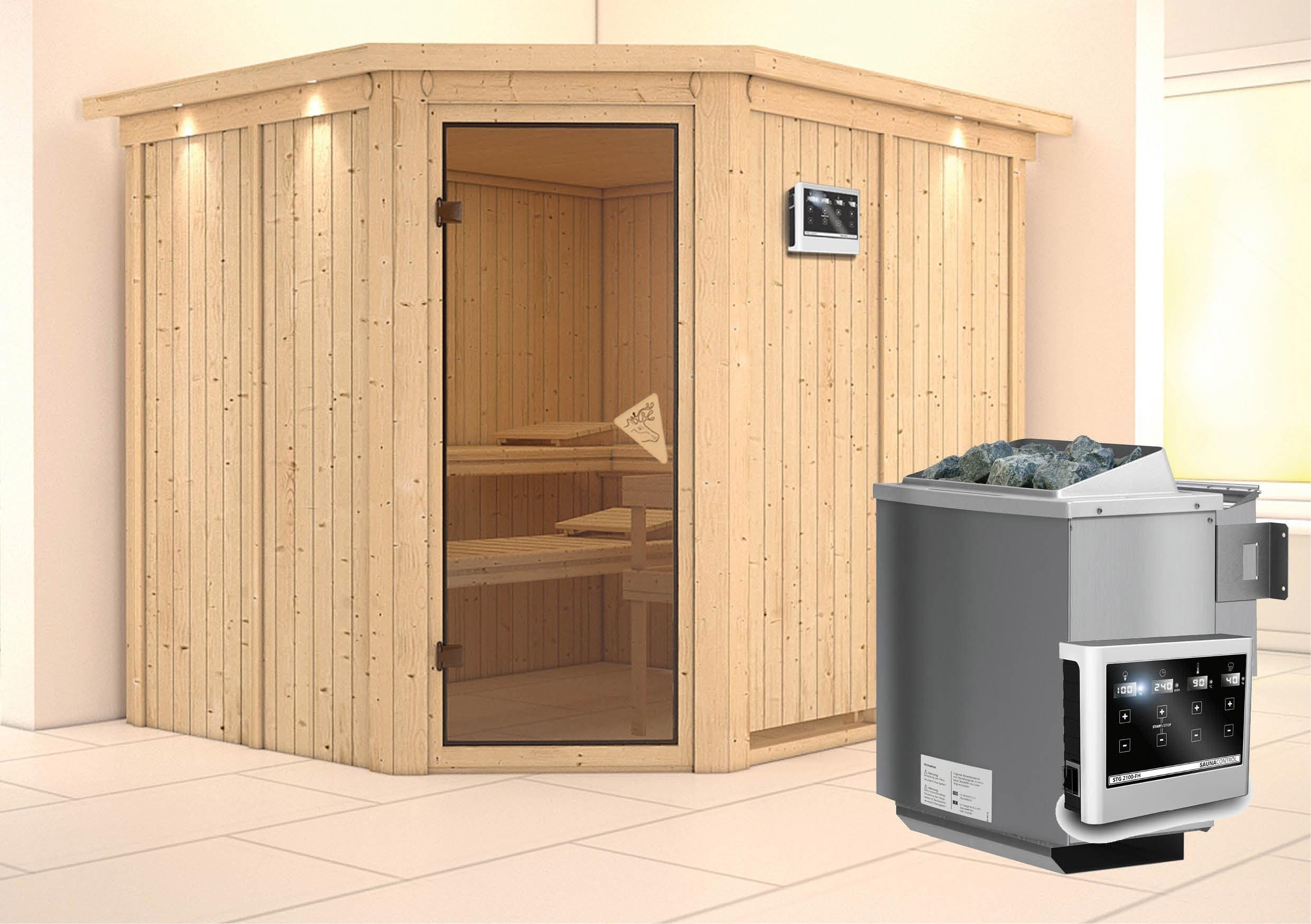 Karibu Sauna Malin 68mm Kranz Ofen 9kW Bio Tür classic Bild 1