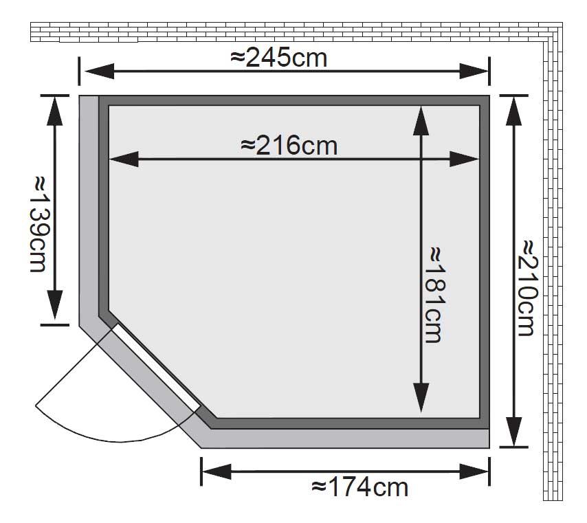Karibu Sauna Malin 68mm Kranz Ofen 9kW Bio Tür classic Bild 2