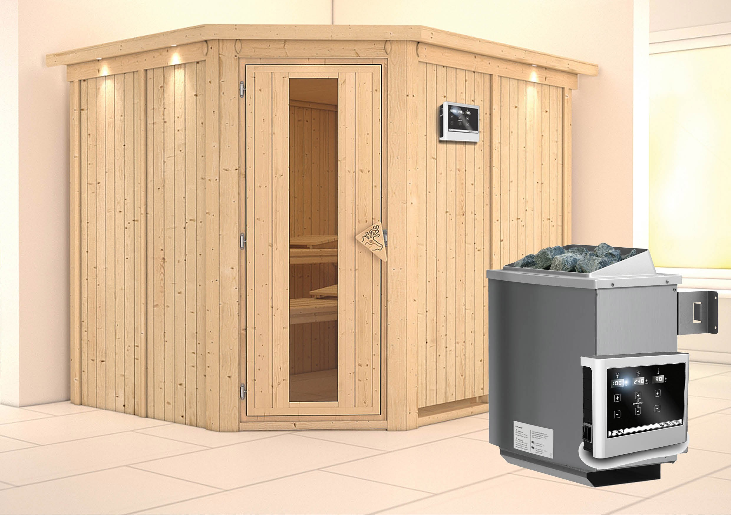 Karibu Sauna Malin 68mm Kranz Ofen 9kW extern Tür Holz Bild 1