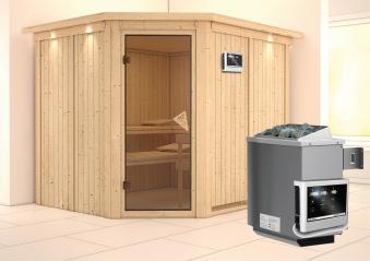 Karibu Sauna Malin 68mm Kranz Ofen 9kW extern Tür classic Bild 1