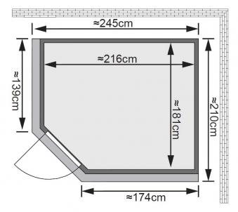 Karibu Sauna Malin 68mm Kranz Ofen 9kW extern Tür classic Bild 2