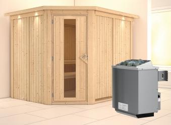Karibu Sauna Malin 68mm Kranz Ofen 9kW intern Tür Holz Bild 1