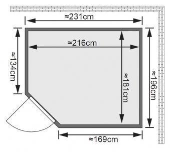 Karibu Sauna Malin 68mm Ofen 9kW extern Tür classic Bild 2