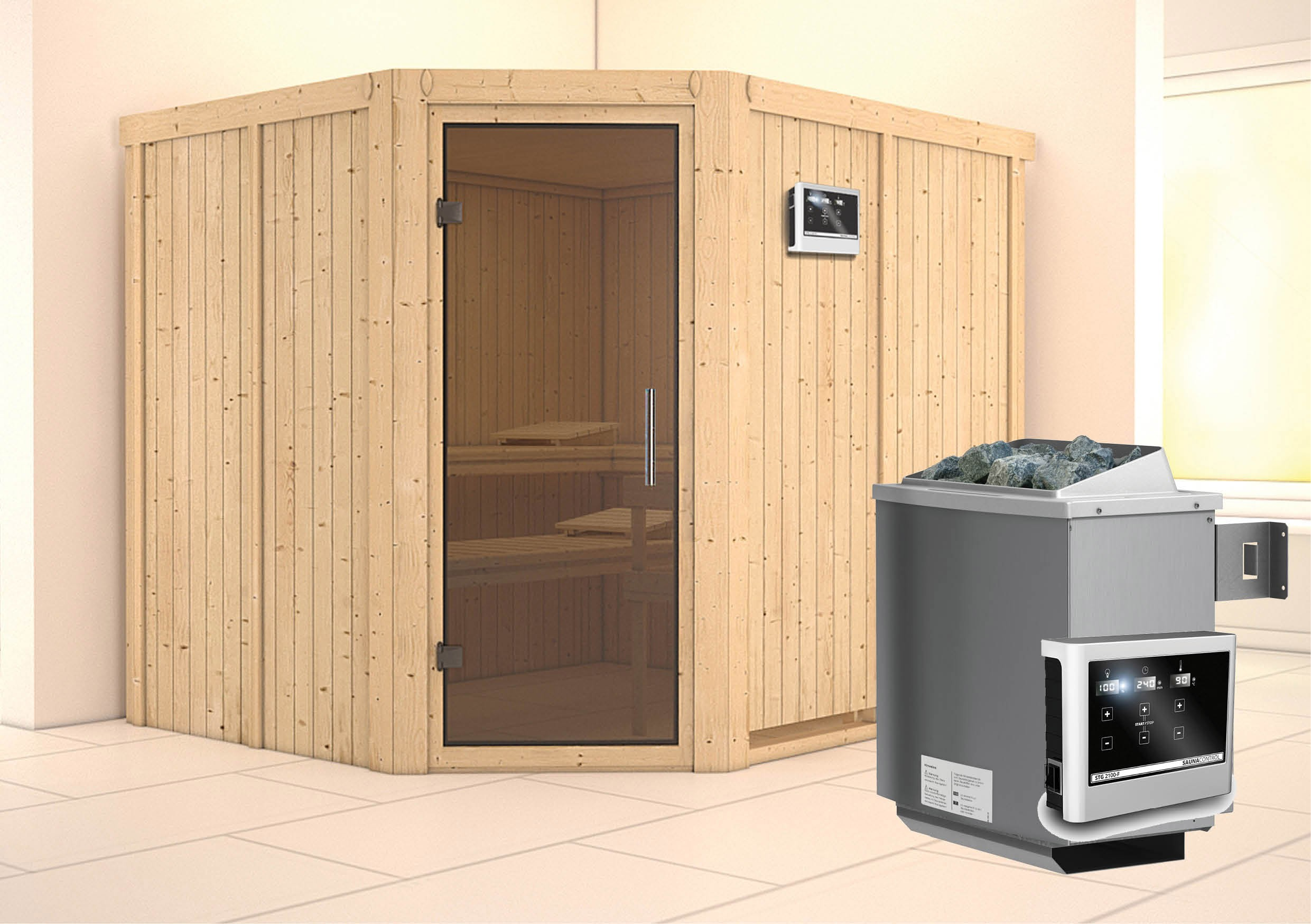 Karibu Sauna Malin 68mm Ofen 9kW extern Tür modern Bild 1
