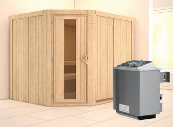 Karibu Sauna Malin 68mm Ofen 9kW intern Tür Holz Bild 1