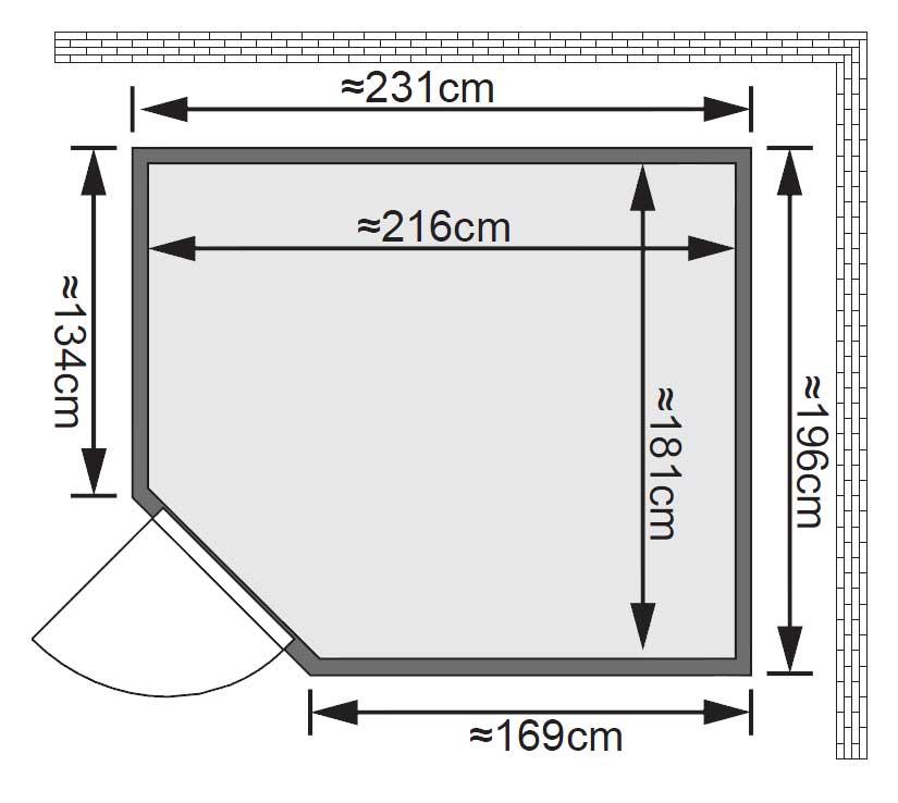 Karibu Sauna Malin 68mm Ofen 9kW intern Tür classic Bild 2