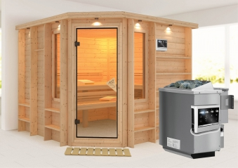 Karibu Sauna Marona 40mm Dachkranz + Bio Ofen 9kW extern classic Tür Bild 1