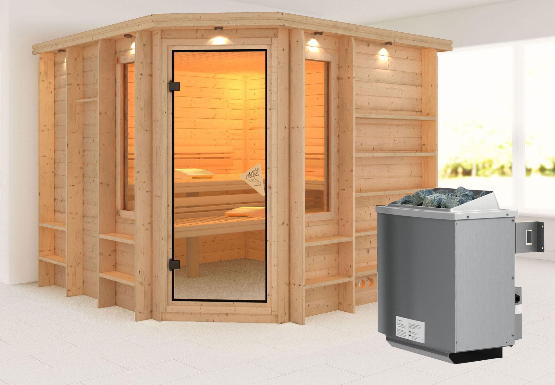 Karibu Sauna Marona 40mm Dachkranz + Ofen 9kW intern classic Tür Bild 1