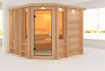 Karibu Sauna Marona 40mm Dachkranz ohne Ofen classic Tür Bild 1