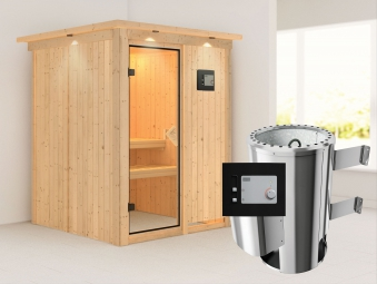 Karibu Sauna Minja 230V Dachkranz + Ofen 3,6kW extern classic Tür Bild 1