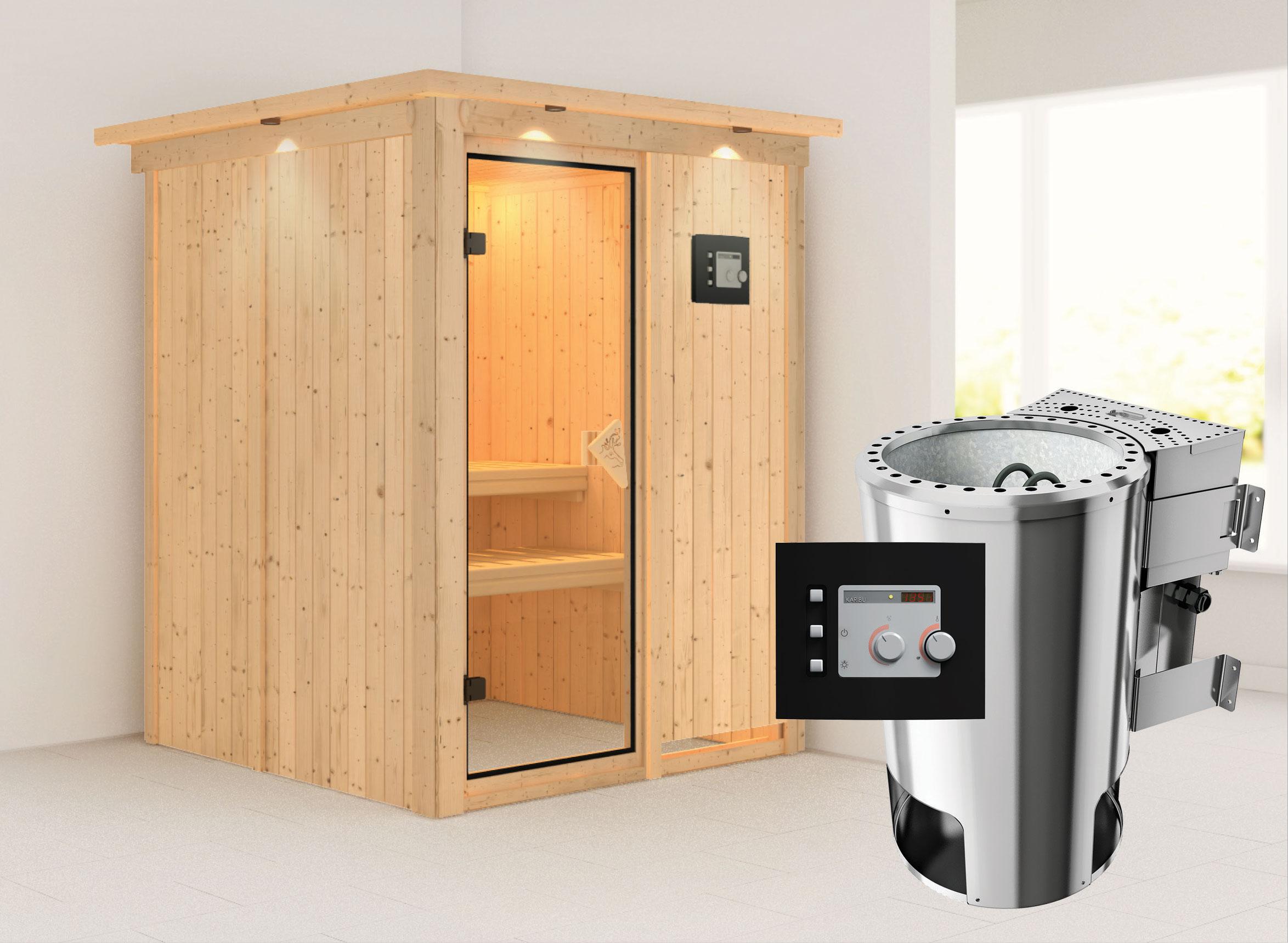 Karibu Sauna Minja 68mm 230V Dachkranz + BioOfen 3,6kW ext classic Tür Bild 1