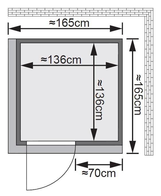 Karibu Sauna Minja 68mm 230V Dachkranz + BioOfen 3,6kW ext classic Tür Bild 2