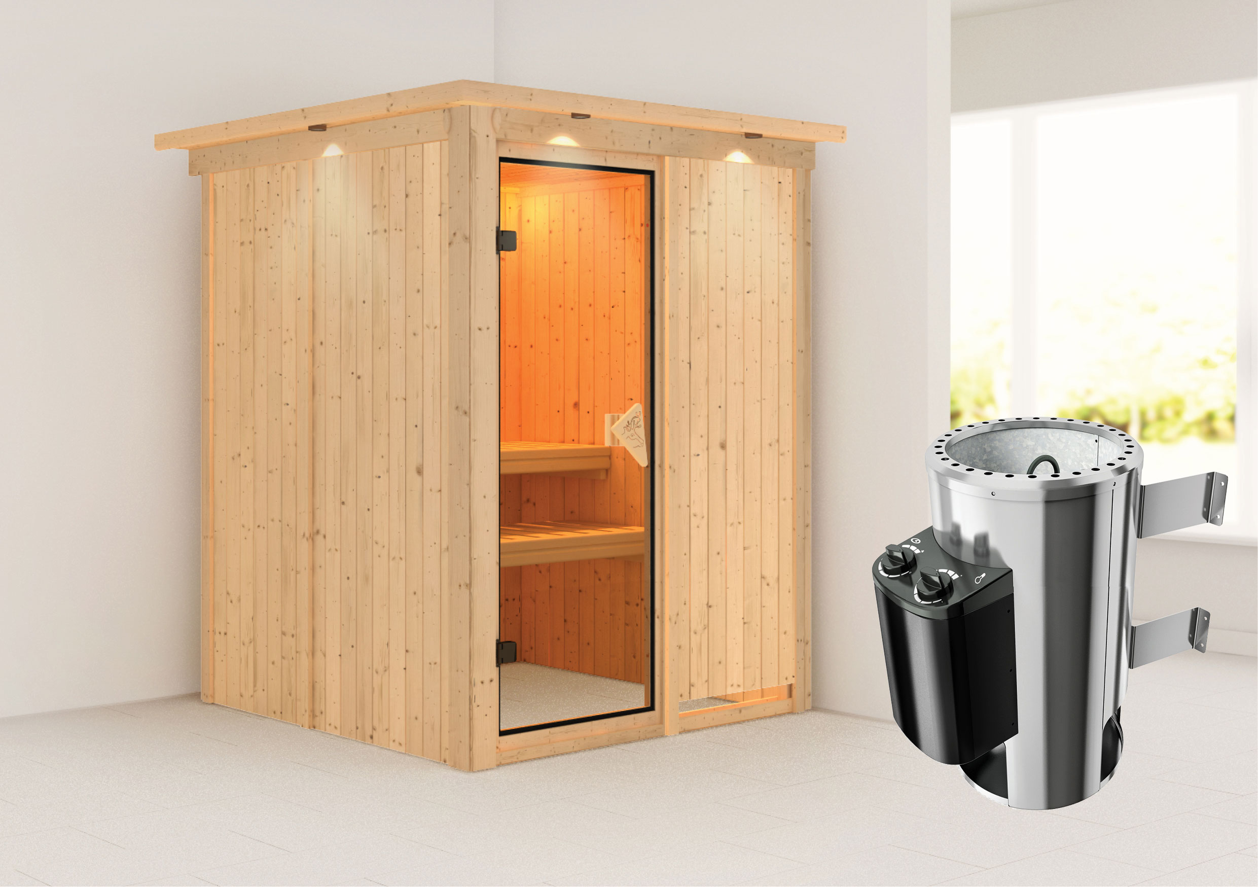 Karibu Sauna Minja 68mm 230V Dachkranz + Ofen 3,6kW intern classic Tür Bild 1