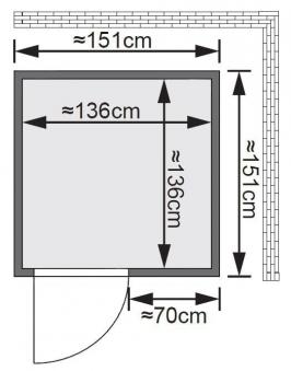 Karibu Sauna Minja 68mm 230V Dachkranz + Ofen 3,6kW intern classic Tür Bild 2