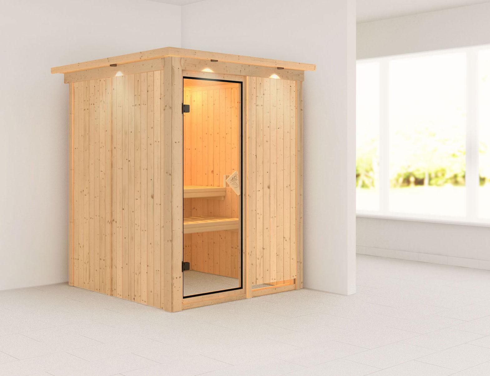 Karibu Sauna Minja 68mm 230V Dachkranz ohne Ofen classic Tür Bild 1